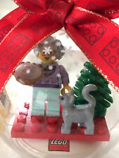 *NEW* Lego Minifig GRANDMA with PIE and HUNGRY CAT Hanging CHRISTMAS ORNAMENT