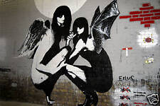 "Eelus, Banksy-Winged Girls graffiti 24""x36"" Canvas Art"