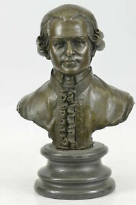 33cm Collect Western bronze Marble Base Pure Bronze musician Mozart Statue Art