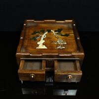 Noble rosewood wood Inlay Conch pine tree & crane figure Tea table with drawer
