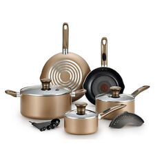 T-Fal Excite Pro Glide Nonstick Thermo Spot Dishwasher Safe Cookware Set, Bronze