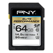 64GB PNY Elite Performance SDXC UHS-I CL10 Memory Card (90MB/sec)