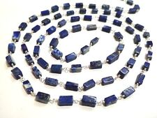 1 Feet Lapis Lazuli Square 4x7-5x9mm Beads, Rosary Beaded Chain Silver Plated