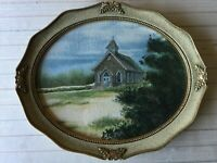 "Ethel Ann Carter Landscape Watercolor Painting ""Church at Nags Head NC"", Framed"