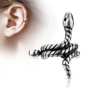 Helix cuff piercing with coloured coiled snake 316L Surgical Steel