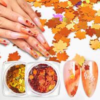 8Pcs/set Nail Art Glitter Snowflake Sequins Autumn Maple Leaf Spangle Flakes US