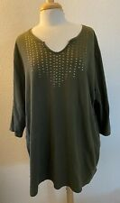 Catherine's Easy fit tees Collection Green Khaki  embellished Tunic 2X 22/24W