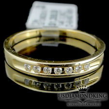 MENS 14K 100% YELLOW GOLD .10CT GENUINE REAL DIAMOND BAND WEDDING 2.5 mm CHANNEL