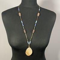 STATEMENT Polished Stone Necklace Artsy Boho Teardrop Gold Tone Ethnic Holiday