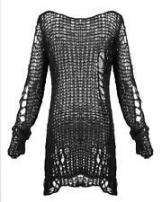 Punk Rave Shredded Knit Sweater Top Black Goth Distressed Grunge