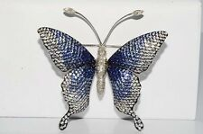 $19,900 14.40CT NATURAL BLUE & WHITE SAPPHIRE & DIAMOND BUTTERFLY LARGE BROOCH