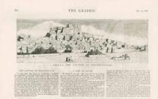 1876 antica stampa-PAKISTAN Belucistan KALAT khelat Città Murata (10A)