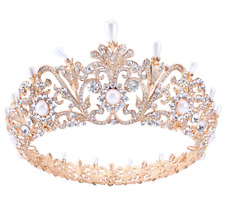 Baroque Pearl Crystal Queen Crown Tiara Headband Royal Rhinestone Princess Hair
