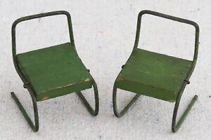 2 Vintage 1930s Bauhaus Wood Steel Cantilever Dollhouse Miniature Chairs