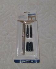 Staedtler 2-Nib Calligraphy Set, Assorted Points, Beige Marble Barrel, Black Ink