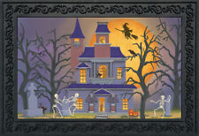 "Haunted House Party Halloween Doormat Full Moon Indoor / Outdoor 18"" x 30"""