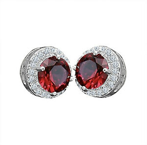 14K White Gold Over 4 CT Round Cut Red Ruby & VVS1 Diamond Stud Earrings