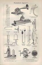 Lithografie 1908: Physikalische Apparate I/II. Spiegelgalvanometer Luft-Pumpe