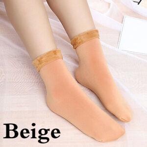 Women Winter Warm Thermal Solid Soft Fleece Lined Casual Ankle Floor Socks