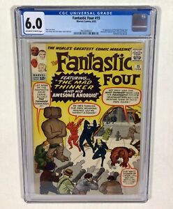 Fantastic Four #15 CGC 6.0 KEY! (1st Mad Thinker,1st Awesome Android)1963 Marvel