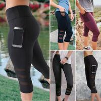 Women Gym Yoga Workout Fitness Active Compression Capri Leggings Pants Pockets