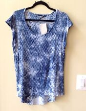 NWT TRYST WOMEN'S BLUE TIE-DYE RAYON/SPANDEX CAP SLEEVE SCOOP NECK BLOUSE SZ M