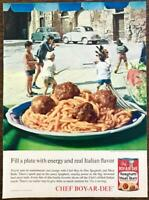 1963 Chef-Boy-Ar-Dee Spaghetti and Meat Balls PRINT AD Real Italian Flavor Boys