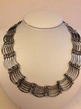 Vintage Elegant Sterling Silver 6-Layed Collar Necklace,marked