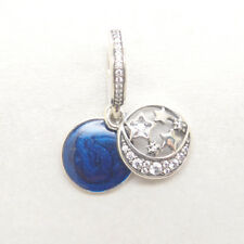 Authentic Silver Vintage Night Sky Shimmering Midnight Blue Enamel Dangle Charm