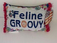 Feline Groovy Tapestry Throw Pillow Word Afghan Throw Pillow