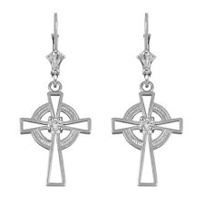 14k White Gold Irish Celtic CZ Cross Drop / Dangle Leverback Earrings