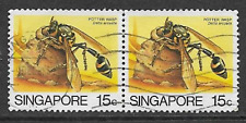 SINGAPORE POSTAL ISSUE - 1985 USED PAIR DEFINITIVE STAMPS - INSECTS POTTER WASP