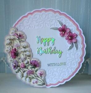 Large Luxury Circular Happy Birthday card with Decoupage Flowers / Pink