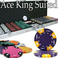 New 600 Ace King Suited 14g Clay Poker Chips Set w/ Aluminum Case - Pick Chips!