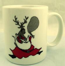 Neiman Marcus Christmas Reindeer and Santa Claus Mug