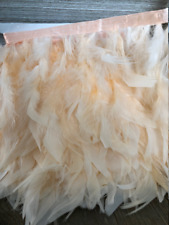 Peach Rooster Hackle Feather Fringe Trim DIY Feather Chandelier, millinery hat