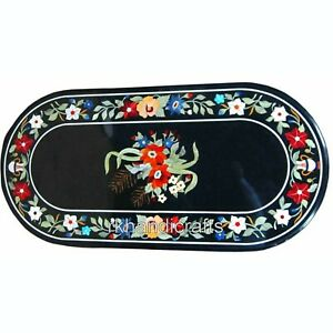 24 x 48 Inches Oval Marble Reception Table Top Inlay with Gemstones Coffee Table