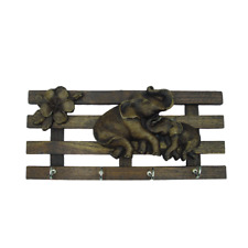 Wooden Key Holder with Carved Elephant Wall Decor