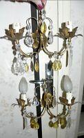 Ancienne paire d' applique murale pampille couleur et métal vintage italie