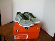 NIKE LUNARGLIDE+5 Grey White Florescent Green Size 7.5 -- New with Box!