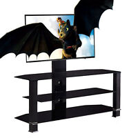 """32""""-55"""" Glass Black Cantilever Tempered TV Stand with Bracket Plasma LCD TV"""