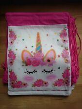 Set of 10 Children Kids Unicorn Drawstring PE Bag Swimming School Party Gym Bag
