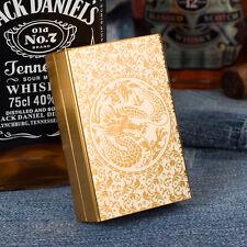 Carved Dragon Aluminum Metal Cigarette Case Holder Holds 20 Cigarettes Gold