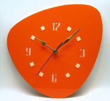 Handmade 1950's Atomic Style wall clock, mid century, orange clock, retro, Usa