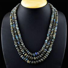 3 Strands Labradorite necklace with 18 kt (750/1000) gold clasp, length 51 cm