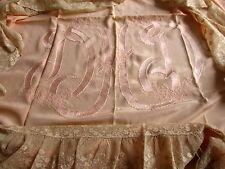 Silk Bedspread Alencon Lace Flounce Embroider Monogram Saks 5th Ave Antique Vtg