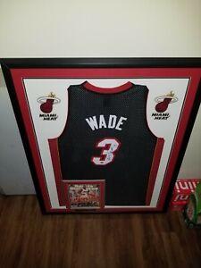 FRAMED Autographed/Signed DWYANE WADE 34x43 Heat Black GAME Jersey JSA COA
