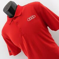 Mens Adidas Red Performance Short Sleeve Golf Polo Shirt Size Small Audi Racing
