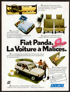1981 FIAT Panda Vintage Original Print AD White car photo slepping garden France