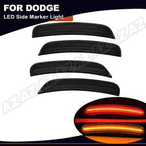 4PCS LED Side Marker Lights Front Rear For 2015-2020 Dodge Charger Smoked Lens
